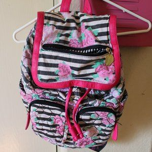 BETSEY JOHNSON STRIPED FLORAL HEART BACKPACK